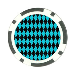 Diamond1 Black Marble & Turquoise Colored Pencil Poker Chip Card Guard by trendistuff