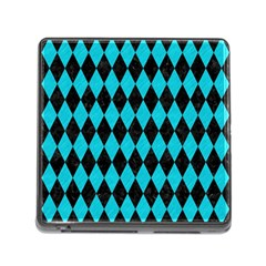 Diamond1 Black Marble & Turquoise Colored Pencil Memory Card Reader (square) by trendistuff