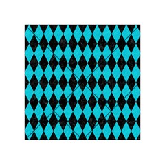 Diamond1 Black Marble & Turquoise Colored Pencil Acrylic Tangram Puzzle (4  X 4 ) by trendistuff