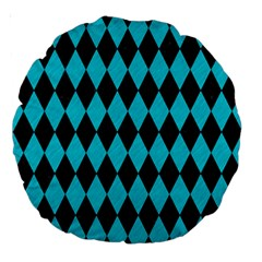 Diamond1 Black Marble & Turquoise Colored Pencil Large 18  Premium Round Cushions by trendistuff