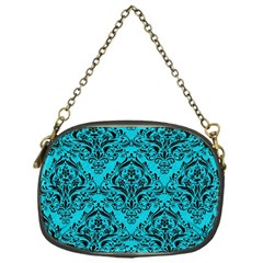 Damask1 Black Marble & Turquoise Colored Pencil Chain Purses (one Side)  by trendistuff