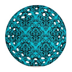 Damask1 Black Marble & Turquoise Colored Pencil Ornament (round Filigree) by trendistuff