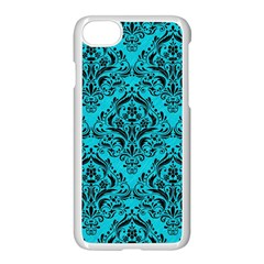 Damask1 Black Marble & Turquoise Colored Pencil Apple Iphone 7 Seamless Case (white) by trendistuff