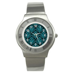 Damask1 Black Marble & Turquoise Colored Pencil (r) Stainless Steel Watch by trendistuff