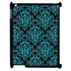 Damask1 Black Marble & Turquoise Colored Pencil (r) Apple Ipad 2 Case (black) by trendistuff