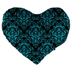 Damask1 Black Marble & Turquoise Colored Pencil (r) Large 19  Premium Heart Shape Cushions by trendistuff