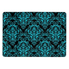 Damask1 Black Marble & Turquoise Colored Pencil (r) Samsung Galaxy Tab 10 1  P7500 Flip Case by trendistuff