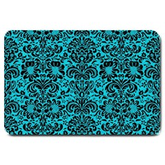 Damask2 Black Marble & Turquoise Colored Pencil Large Doormat  by trendistuff