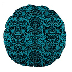 Damask2 Black Marble & Turquoise Colored Pencil Large 18  Premium Round Cushions by trendistuff