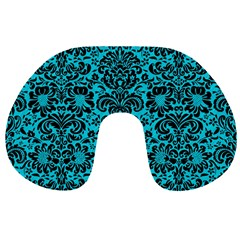 Damask2 Black Marble & Turquoise Colored Pencil Travel Neck Pillows by trendistuff