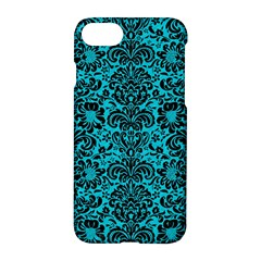 Damask2 Black Marble & Turquoise Colored Pencil Apple Iphone 8 Hardshell Case by trendistuff