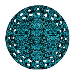 Damask2 Black Marble & Turquoise Colored Pencil (r) Ornament (round Filigree) by trendistuff