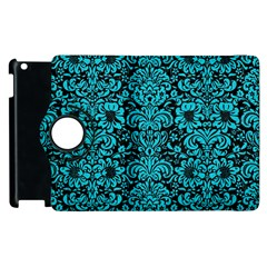 Damask2 Black Marble & Turquoise Colored Pencil (r) Apple Ipad 3/4 Flip 360 Case by trendistuff