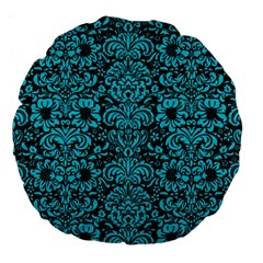 Damask2 Black Marble & Turquoise Colored Pencil (r) Large 18  Premium Round Cushions by trendistuff