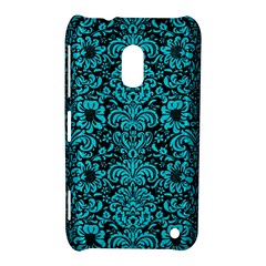 Damask2 Black Marble & Turquoise Colored Pencil (r) Nokia Lumia 620 by trendistuff