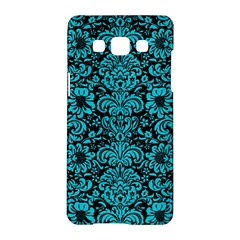 Damask2 Black Marble & Turquoise Colored Pencil (r) Samsung Galaxy A5 Hardshell Case  by trendistuff