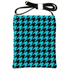 Houndstooth1 Black Marble & Turquoise Colored Pencil Shoulder Sling Bags by trendistuff