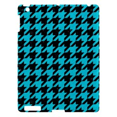 Houndstooth1 Black Marble & Turquoise Colored Pencil Apple Ipad 3/4 Hardshell Case by trendistuff