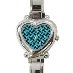 Houndstooth2 Black Marble & Turquoise Colored Pencil Heart Italian Charm Watch by trendistuff