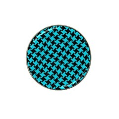 Houndstooth2 Black Marble & Turquoise Colored Pencil Hat Clip Ball Marker by trendistuff