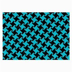 Houndstooth2 Black Marble & Turquoise Colored Pencil Large Glasses Cloth by trendistuff
