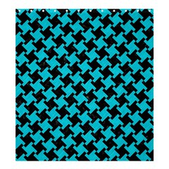 Houndstooth2 Black Marble & Turquoise Colored Pencil Shower Curtain 66  X 72  (large)  by trendistuff