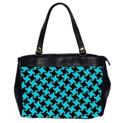 Houndstooth2 Black Marble & Turquoise Colored Pencil Office Handbags (2 Sides)  by trendistuff