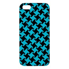 Houndstooth2 Black Marble & Turquoise Colored Pencil Apple Iphone 5 Premium Hardshell Case by trendistuff