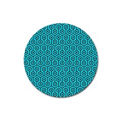 Hexagon1 Black Marble & Turquoise Colored Pencil Magnet 3  (round) by trendistuff