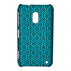Hexagon1 Black Marble & Turquoise Colored Pencil Nokia Lumia 620 by trendistuff