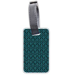 Hexagon1 Black Marble & Turquoise Colored Pencil (r) Luggage Tags (two Sides) by trendistuff