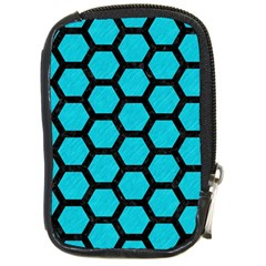 Hexagon2 Black Marble & Turquoise Colored Pencil Compact Camera Cases by trendistuff