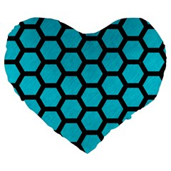 Hexagon2 Black Marble & Turquoise Colored Pencil Large 19  Premium Flano Heart Shape Cushions by trendistuff