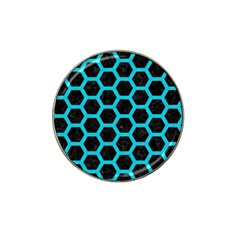 Hexagon2 Black Marble & Turquoise Colored Pencil (r) Hat Clip Ball Marker (4 Pack) by trendistuff