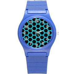 Hexagon2 Black Marble & Turquoise Colored Pencil (r) Round Plastic Sport Watch (s) by trendistuff