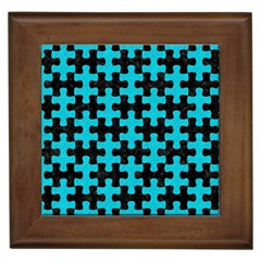 Puzzle1 Black Marble & Turquoise Colored Pencil Framed Tiles by trendistuff