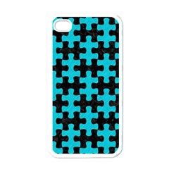 Puzzle1 Black Marble & Turquoise Colored Pencil Apple Iphone 4 Case (white) by trendistuff
