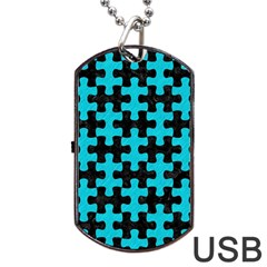 Puzzle1 Black Marble & Turquoise Colored Pencil Dog Tag Usb Flash (one Side) by trendistuff