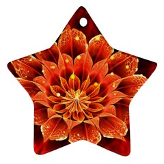 Beautiful Ruby Red Dahlia Fractal Lotus Flower Star Ornament (two Sides) by beautifulfractals