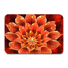Beautiful Ruby Red Dahlia Fractal Lotus Flower Plate Mats by beautifulfractals