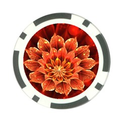 Beautiful Ruby Red Dahlia Fractal Lotus Flower Poker Chip Card Guard by beautifulfractals