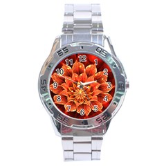 Beautiful Ruby Red Dahlia Fractal Lotus Flower Stainless Steel Analogue Watch by beautifulfractals