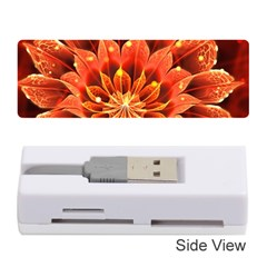 Beautiful Ruby Red Dahlia Fractal Lotus Flower Memory Card Reader (stick)  by beautifulfractals