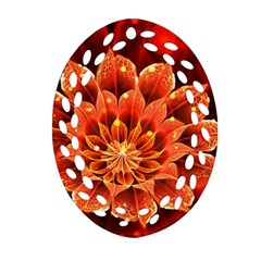 Beautiful Ruby Red Dahlia Fractal Lotus Flower Oval Filigree Ornament (two Sides) by beautifulfractals