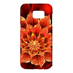 Beautiful Ruby Red Dahlia Fractal Lotus Flower Samsung Galaxy S7 Edge Hardshell Case