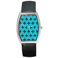 Royal1 Black Marble & Turquoise Colored Pencil (r) Barrel Style Metal Watch by trendistuff