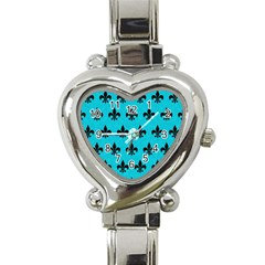Royal1 Black Marble & Turquoise Colored Pencil (r) Heart Italian Charm Watch by trendistuff