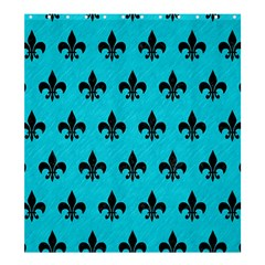 Royal1 Black Marble & Turquoise Colored Pencil (r) Shower Curtain 66  X 72  (large)  by trendistuff