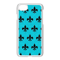 Royal1 Black Marble & Turquoise Colored Pencil (r) Apple Iphone 8 Seamless Case (white)