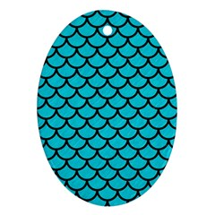 Scales1 Black Marble & Turquoise Colored Pencil Ornament (oval) by trendistuff